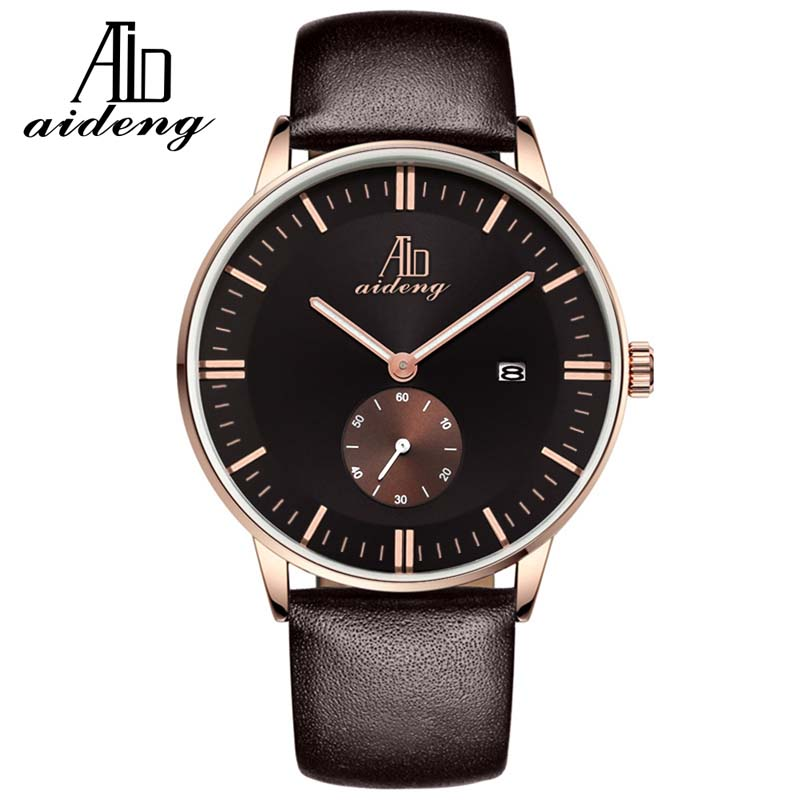 Aideng customized mens leather quartz watch, stainless steel case back watch for mens