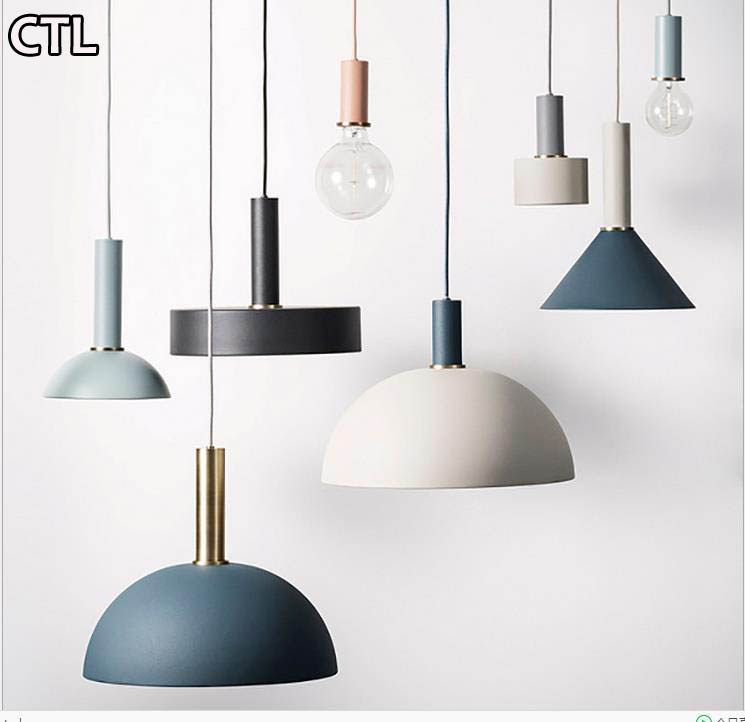 Nordic post-modern macarons chandeliers Colorful metal Cover Ceiling Combination decorative pendant lights