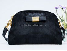 Stylish horsehair cosmetic Handbag with chain handle real leather Pu leather