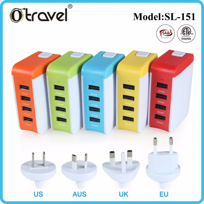 4 usb ports wall charger power adapter charger for cell phone