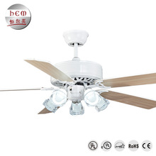 Indoor Decorative 52 Inch Led Ceiling Fan Light 5 Wooden Blades Ceiling Fan With Led Light