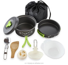 Camping Cookware Mess Kit Backpacking Gear & Hiking Outdoors Bug Out Bag Cooking Equipment 8 Piece Cookset