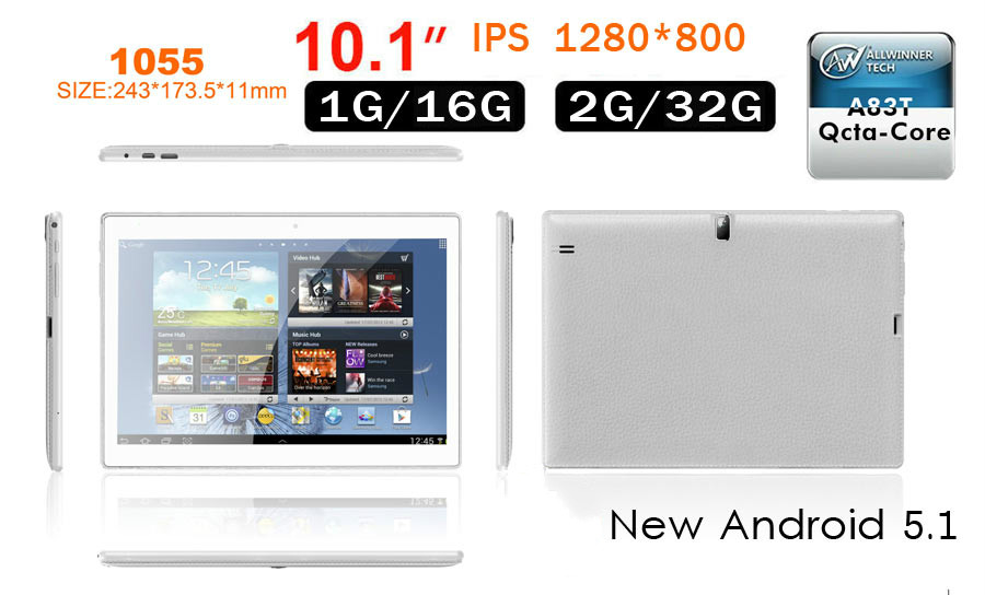 Best new Android 5.1 OS 1GB <strong>16GB</strong> 1280*800 10 inch A83T Octa core tablet pc