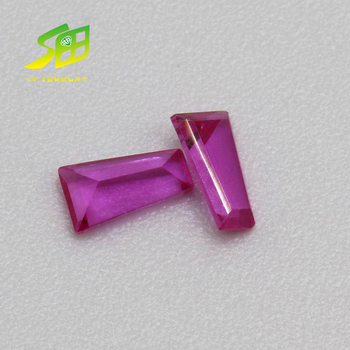 High quality pink tapered shape synthetic corundum rough