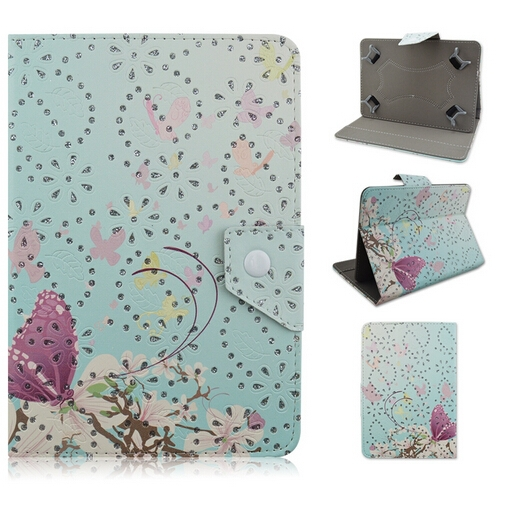 Pretty Shiney flower flip cover universal tablet case 7inch for Samsung tab
