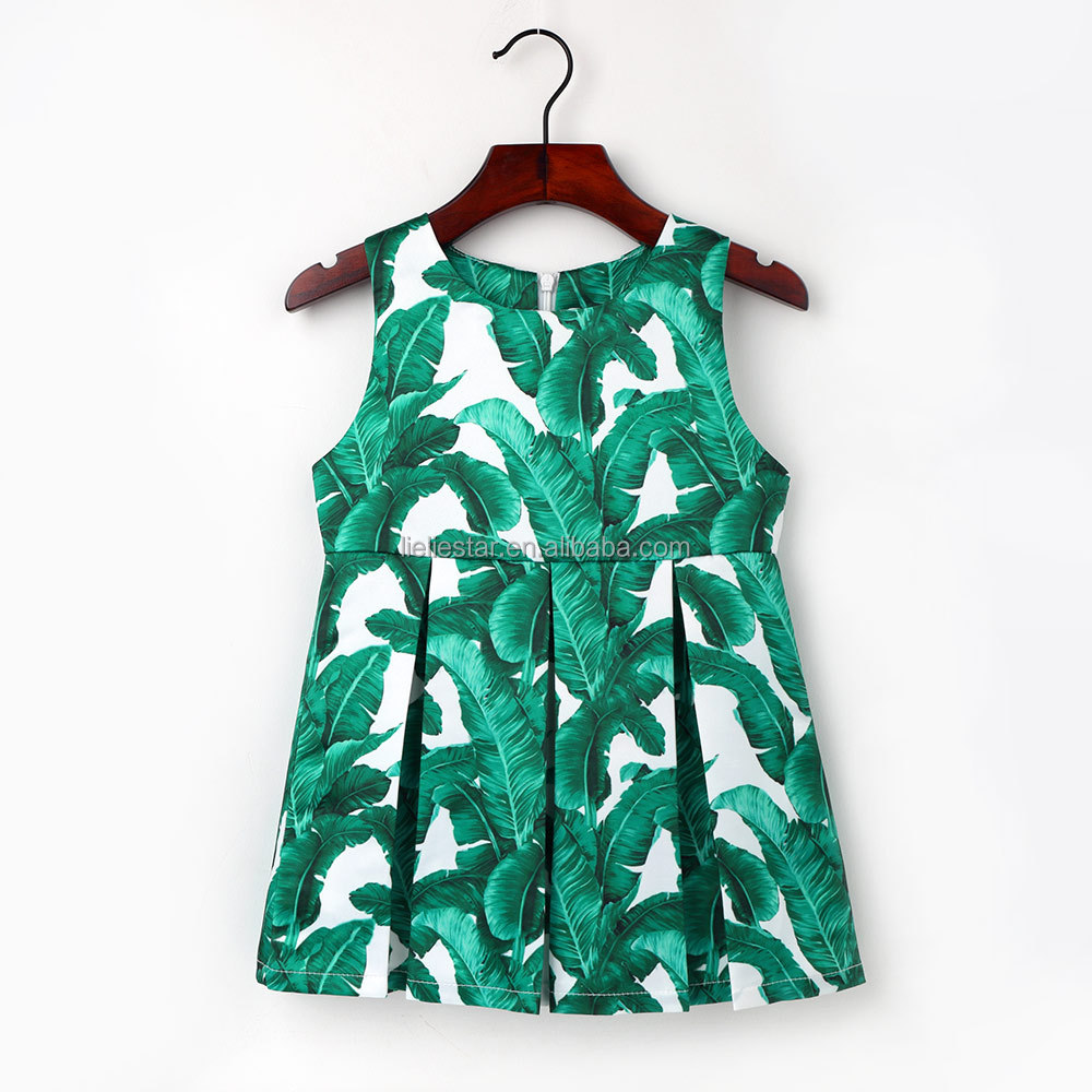 Banana Leaf pattern Dress Party Birthday wedding princess Dresses girl children dress