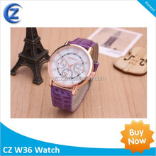2015 New Design Fashion Geneva Leather Strap Colorful Lady Watches Wholesale