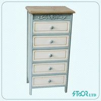 Old antique white narrow tall chest of drawer furniture for sale