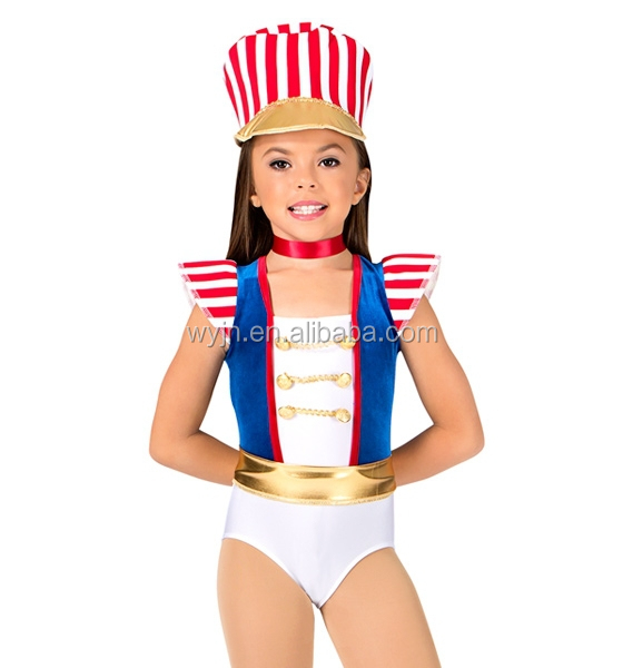 Royal blue velvet girls tank leotard with red and white striped lycra accents on the shoulders and a white bodice