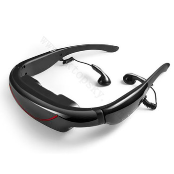 "Hot selling 72"" mobile cinema and FPV goggles, 2D video glasses, 4GB memory, AV IN to connect FPV, TV, DVD, PS2/3,XBOX360, etc"