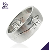 Unique star design 316I stainless steel metal ring