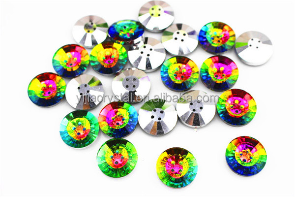round fashion sew on rhinestone buttons for clothes jewelry and shoes