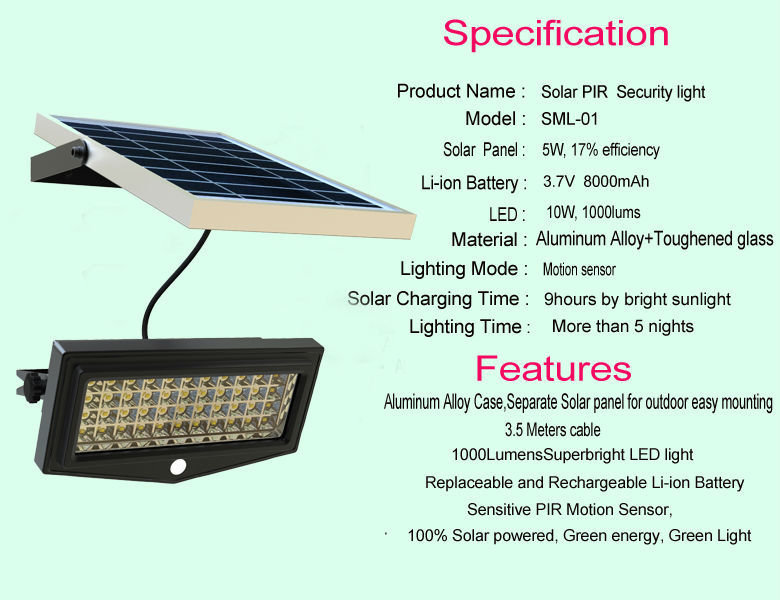 Solar Power Motion Sensor Outdoor Led Flood Light