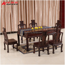 Classical Wood Dining Table Chair Set Home Dining Room Tea Coffee Square Table with 6 Chairs Rosewood Furniture Sets