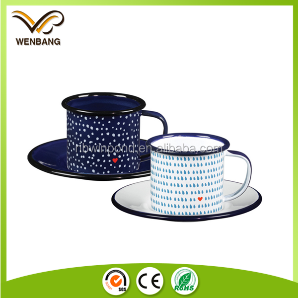 Cheap porcelain wholesale custom printed enamel tea cups and saucers