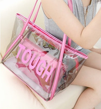 Cusom transparent plastic pvc shopping bag waterproof outdoor beach tote bag