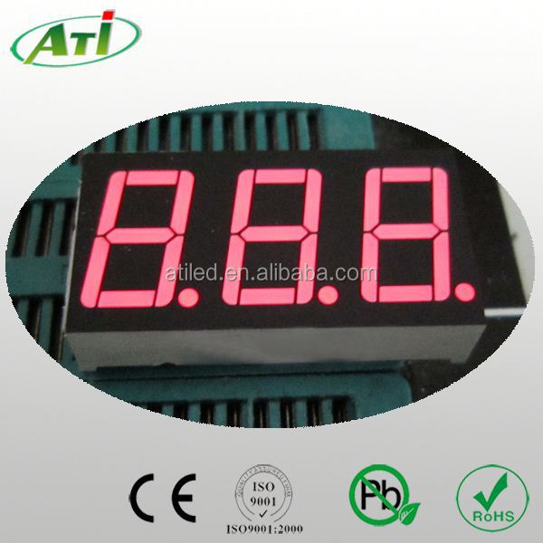 hot selling rohs iso9001 0.52 inch yellow and green 3 digit led display for instrumentation, ATI LED factory.