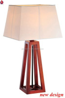 hotsale wood base table lamp in dark red color with white fabric lamp shade