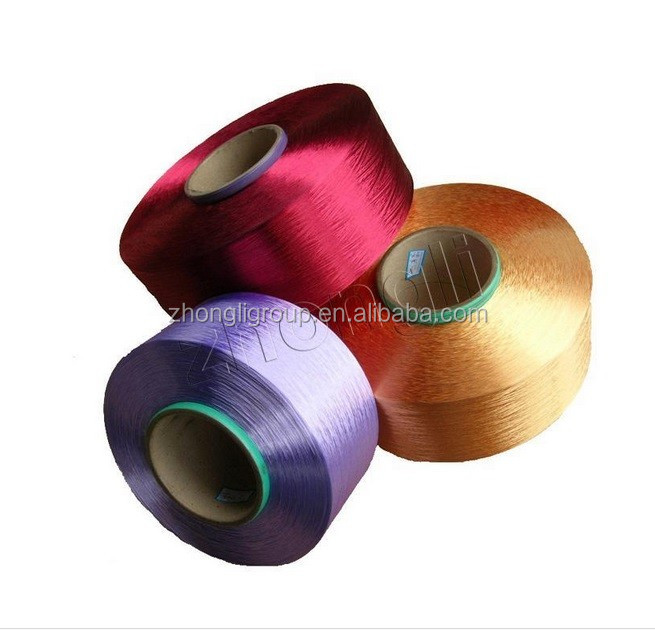 Polyester dope dyed FDY filament yarn(150d/48f, 300d/96f,450d/144f, 600d/192f) good sale on ALIBABA