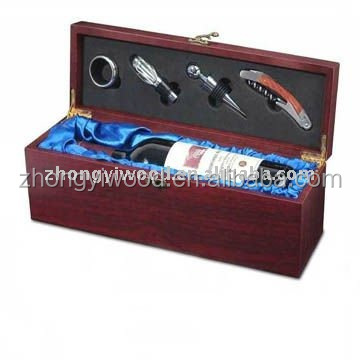 made in China painted wooden wine box with wine set wholesale