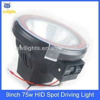 "9"" 75w hid xenon fog light, high quality hid off road driving light, hid wroking lamp 9''"