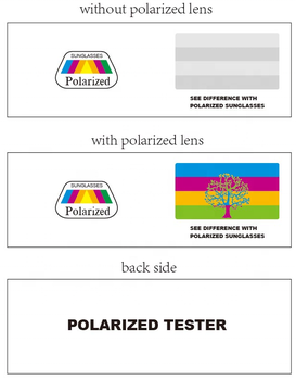 Polarized sunglasses test cards with Paper card