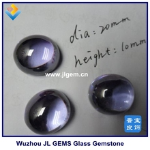 Cabochon Flat Bottom Round Shape Blue Color Glass stone