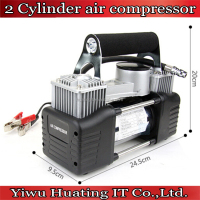 wholesale 12V Metal car 2 cylinder air pump/auto air compressor/auto tyre inflator with jump leads