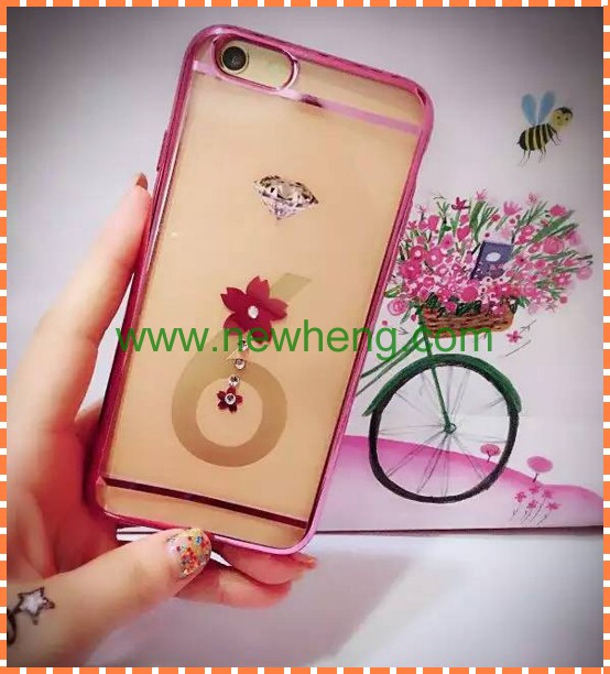 Hot selling bling diamond electroplate double color tpu case for iphone6