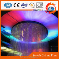 hot sale varied false ceiling shapes pvc colorful high stretched ceiling film with lighting decorate