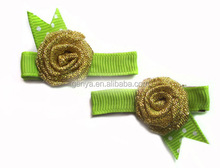 Spring style golden rose metal hair clips