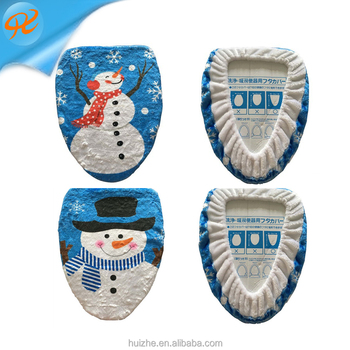 Hot Sale China Christmas Toilet Seat Cover And Rug Set