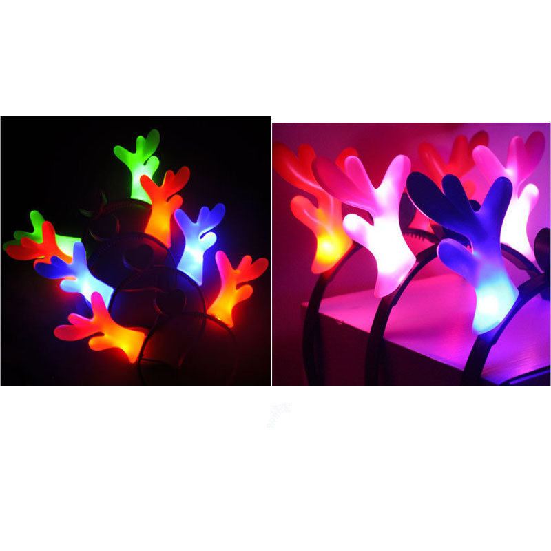 Factory popular design hotsale with reindeer elk light women hair clasp for Christmas