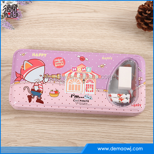 2016 new China factory wholesale Tin pencil case with stationery for back to school DMA001