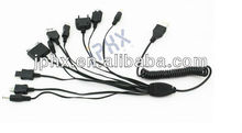Multi charger 10 in 1 universal USB Spring Coiled Charging Multi Plug Mobile Phone USB Charger Cable 10 in 1 Cable