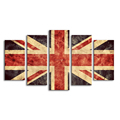 Multi-panel Union Jack Giclee Painting Creative Flag of Great Britain Canvas Wall Art Living Room Wall Decor