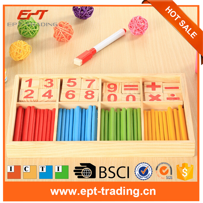 2017 Wholesale multi-function educational wooden counting toys for child