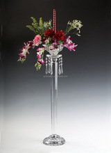 Wedding use crystal colored glass goblet candle holder