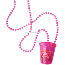 "33"" Fancy Hanging Beaded Necklace Plastic Shot Glass for Party"
