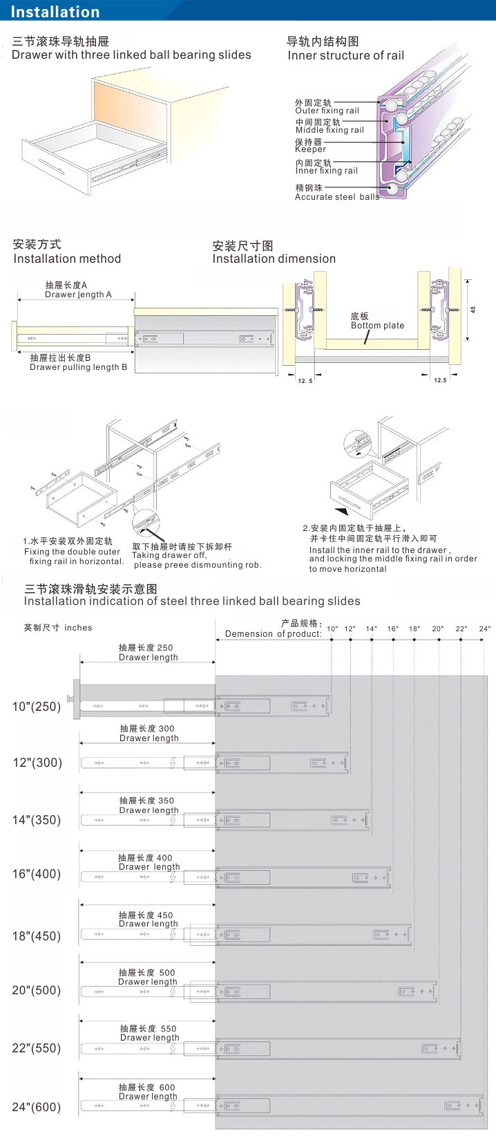 Kitchen cabinet drawer length - Full Extension Soft Closing Dtc Kitchen Cabinet Drawer Slides
