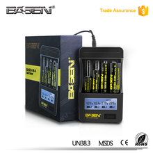 BASEN BS4 external 18650 battery charger 3.6v 3.7v vape usb digital battery charger portable 0.5A 1A 2A