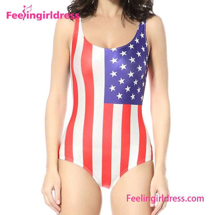 US Printed Flag Galaxy One Piece Dog Sexi Swimsuit Open Bikini