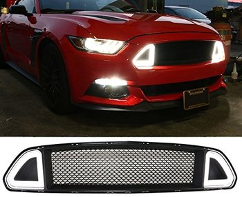 lantsun F001 15-17 F ord Mustang DRL LED Front Grille Hood Bumper Mesh Grill