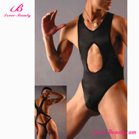 Hot sale teddy lingerie tight black sexy underwear for men