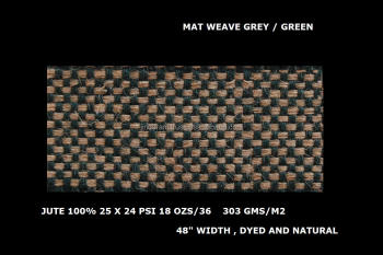 mat weave jute fabric grey / green