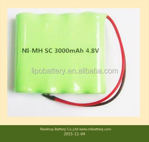 Rechargeable 3000mAh 4*SC battery packs 4.8v nimh