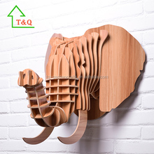 Large Wooden Elephant Trophy Animal Head 3D Wall Art Hanging Home Decor Africa