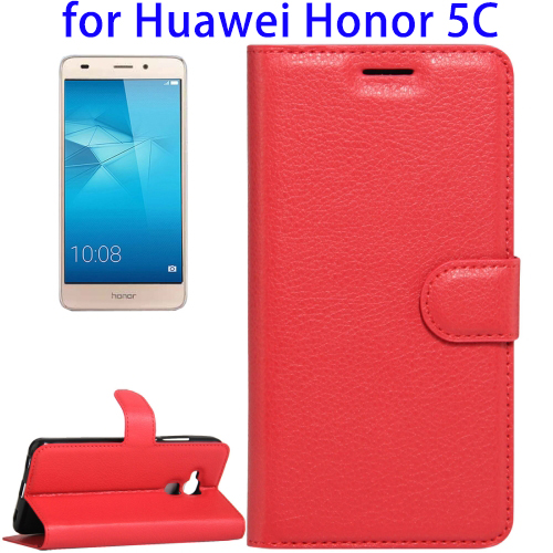 Factory Price Litchi Texture Horizontal Flip Leather Back Cover Case for Huawei Honor 5C