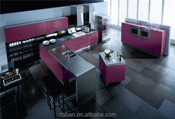 Modern high gloss purple kitchen cabinets with cad drawings