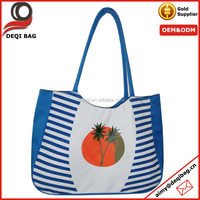 fruit and tree print nylon tote bag blue stripe handbag with large capacity shoulder bag
